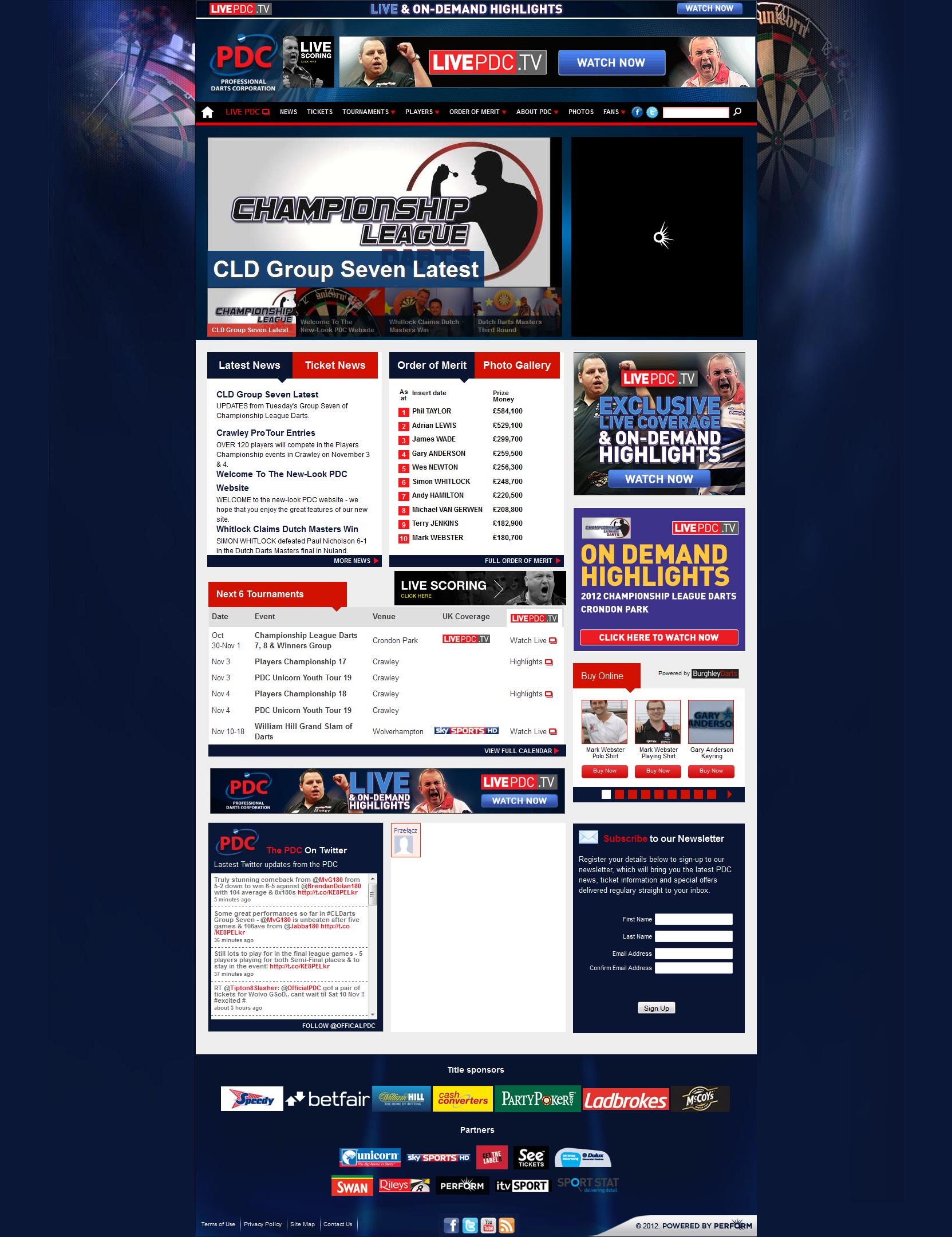 Dzisiaj zmieniła się strona darterskiej organizacji PDC: http://www.pdc.tv/home Zmiana w moim odczuciu zdecydowanie na plus. Oto, jak wygląda nowa wersja: